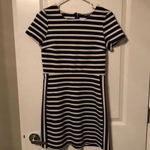 Express blue and white striped mini dress